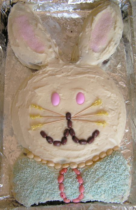 bunny cakes for easter. The unny cake is complete,