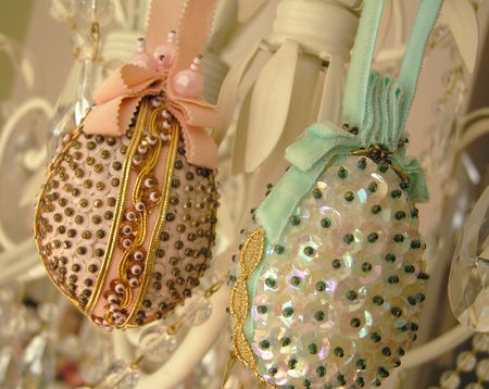 Vintage sequin eggs