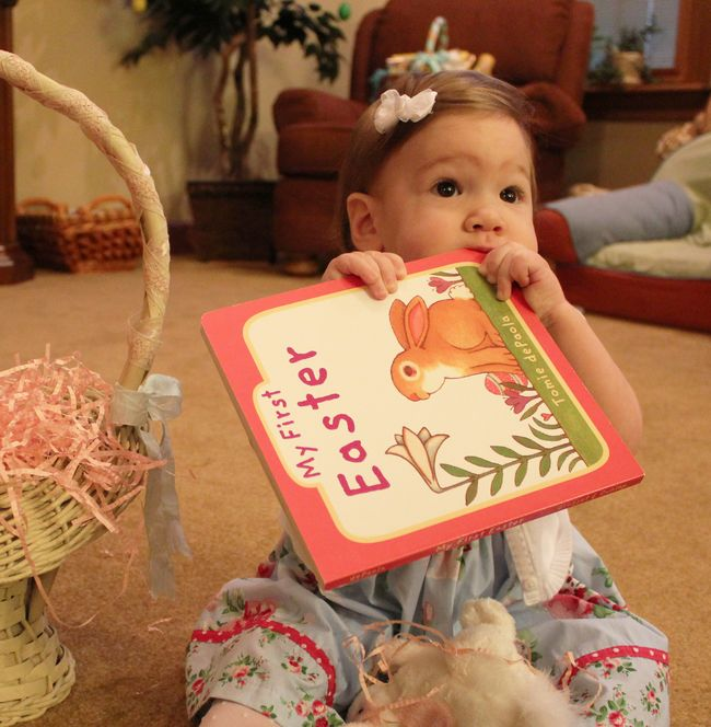 Sofia eating easter book
